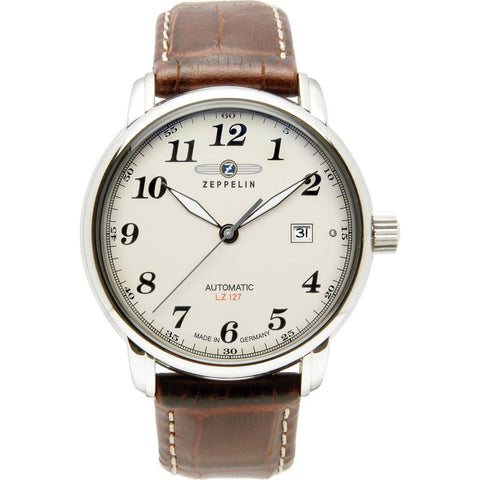 Zeppelin LZ-127 Graf Zeppelin Self-Winding Watch | Beige & Brown Leather 7656-5
