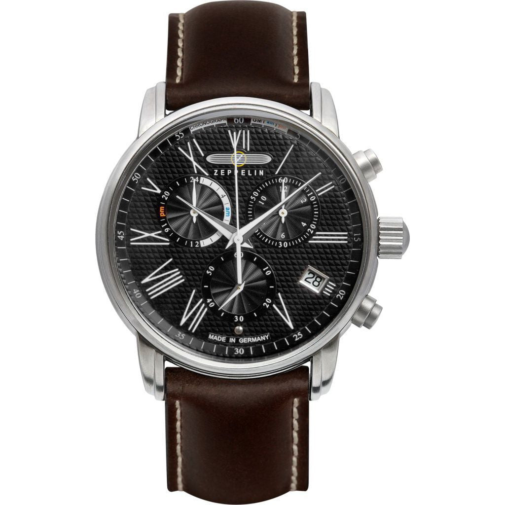 Zeppelin LZ-127 Trasnatlantic Chronograph Watch | Black & Brown Leather 7694-2