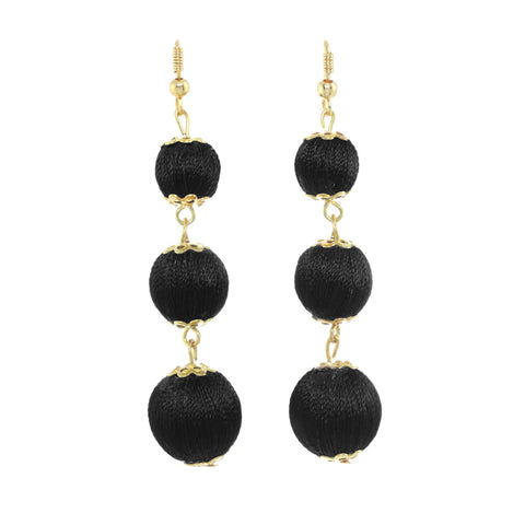 Chichi Ball Drop Earrings Black