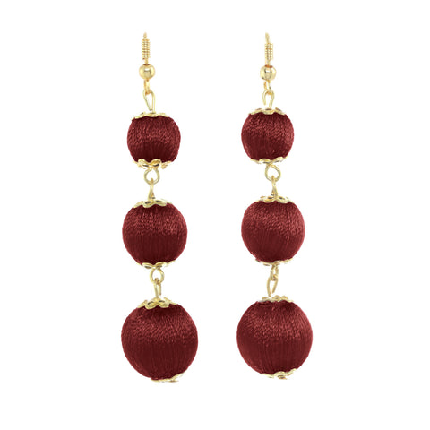 Chichi Drop Ball Earrings Wine