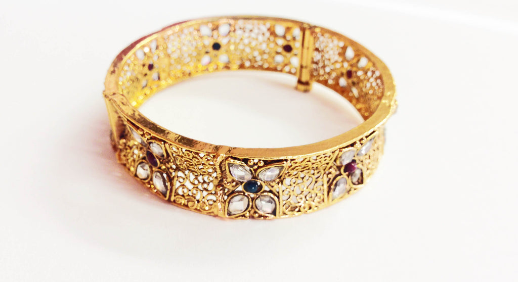 Gold Plated Floral Detailed Cuff