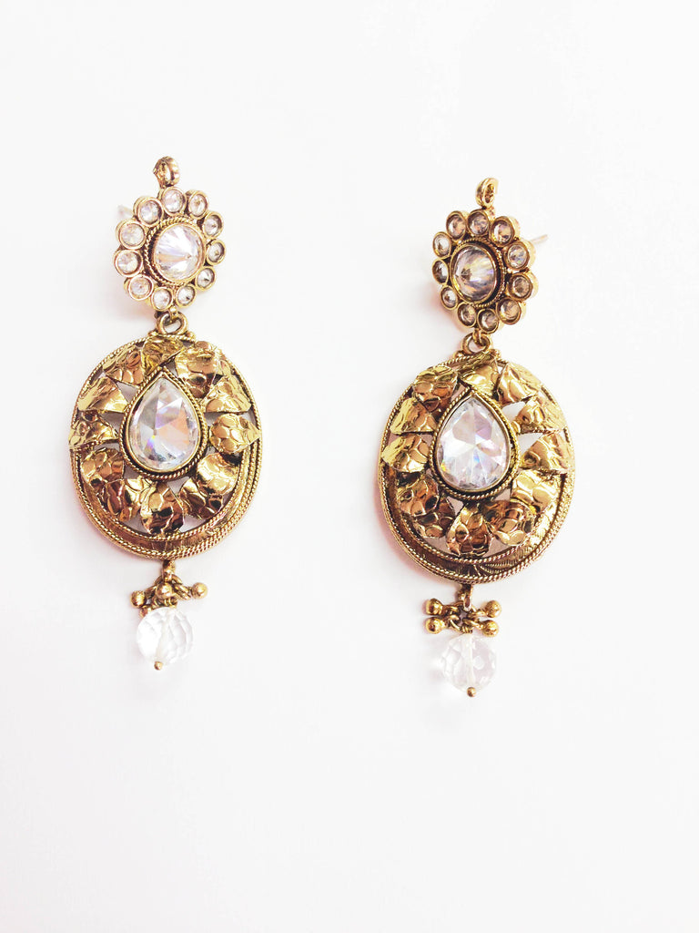 Gold Oval Textured Earrings