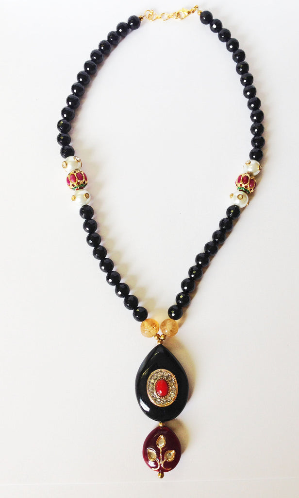 Black Beaded Pendant Necklace