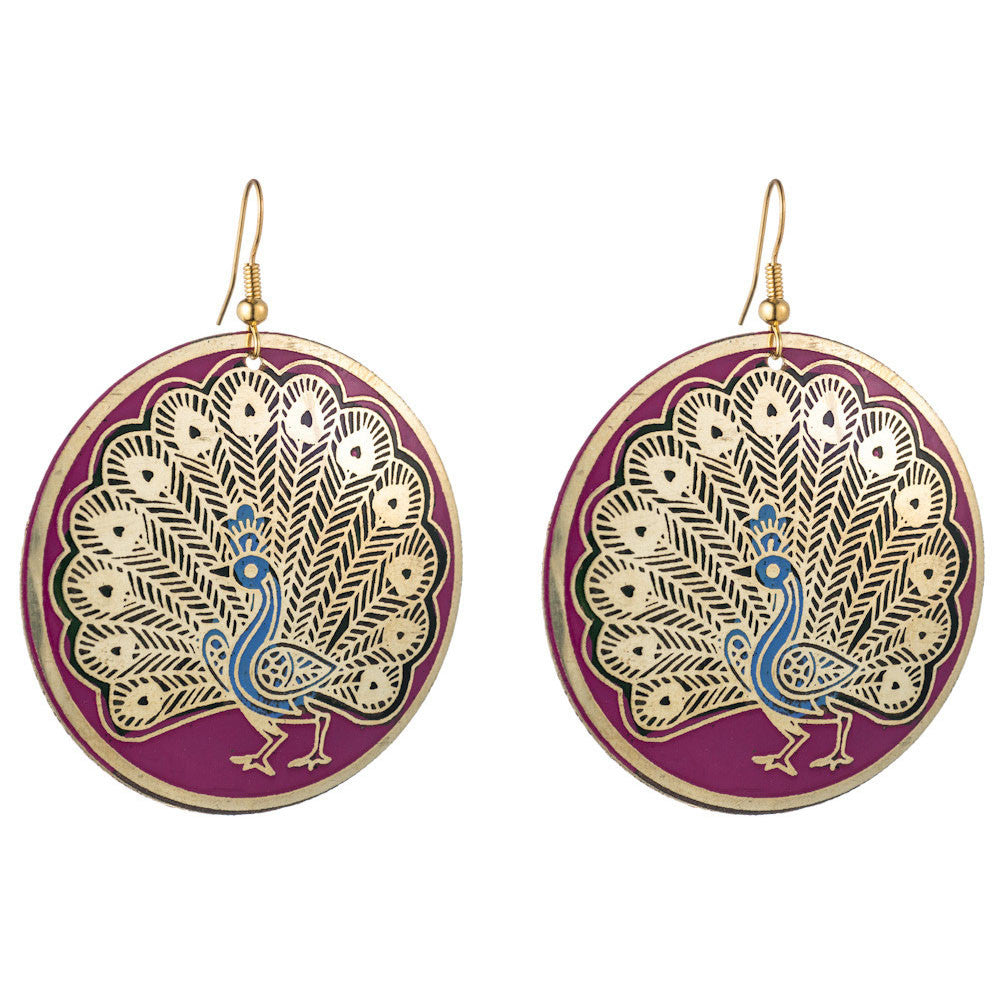 Peacock Paint Earrings