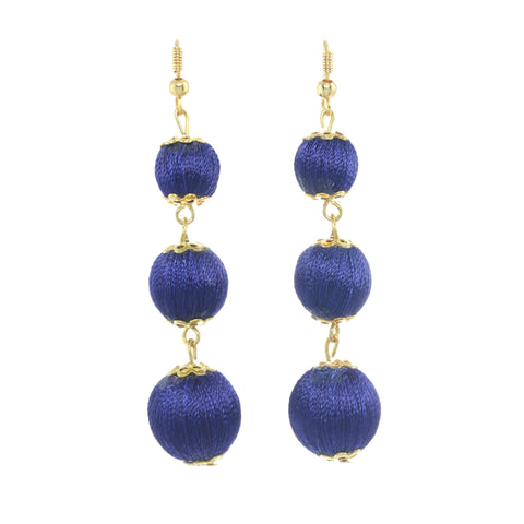 Classic Ball Drop Earrings Navy