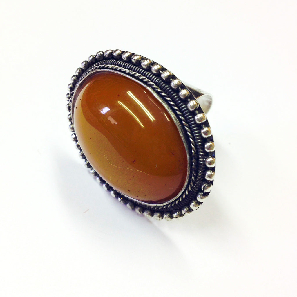NEW Amber Stone Cocktail Ring