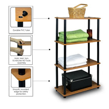 Load image into Gallery viewer, 4-Tier Storage Shelf Display Rack Bookcase in Cherry Finish