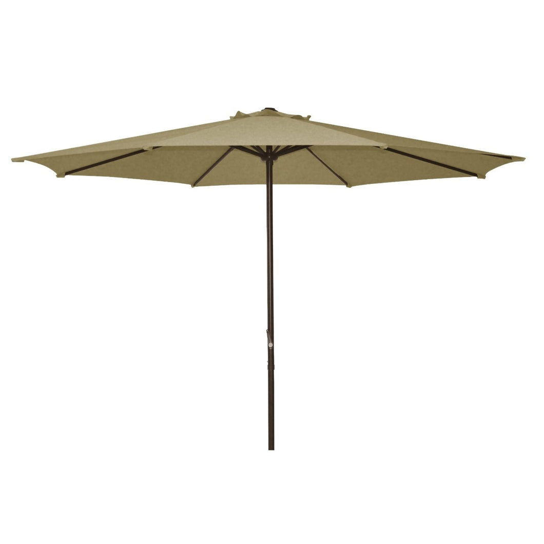 9 Foot Patio Umbrella with Beige Polyester Fabric Shade