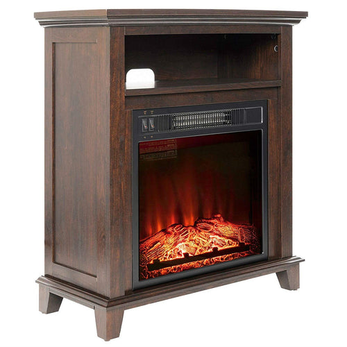 Freestanding Electric Fireplace Heater in Brown Wood Finish