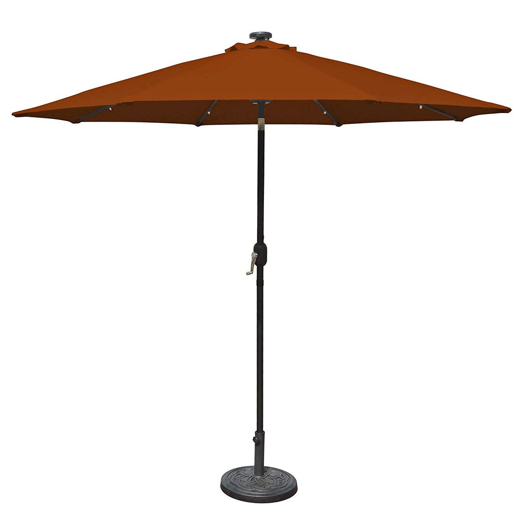 9 Foot Octagonal Olefin Market Umbrella with Auto-Tilt Terra Cotta