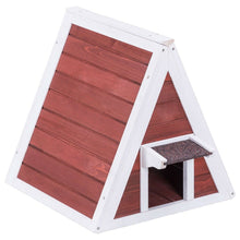 Load image into Gallery viewer, Weatherproof Red A-Frame Wooden Cat House Furniture Shelter with Eave