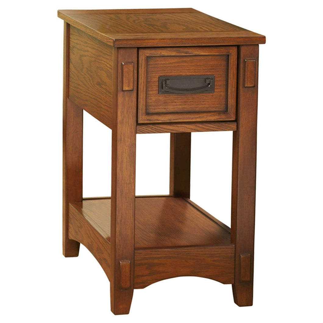 Mission Style 1-Drawer End Table Nightstand in Brown Wood Finish
