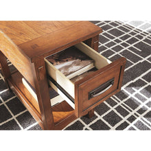 Load image into Gallery viewer, Mission Style 1-Drawer End Table Nightstand in Brown Wood Finish