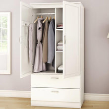 Load image into Gallery viewer, White Armoire Bedroom Clothes Storage Wardrobe Cabinet with 2 Drawers