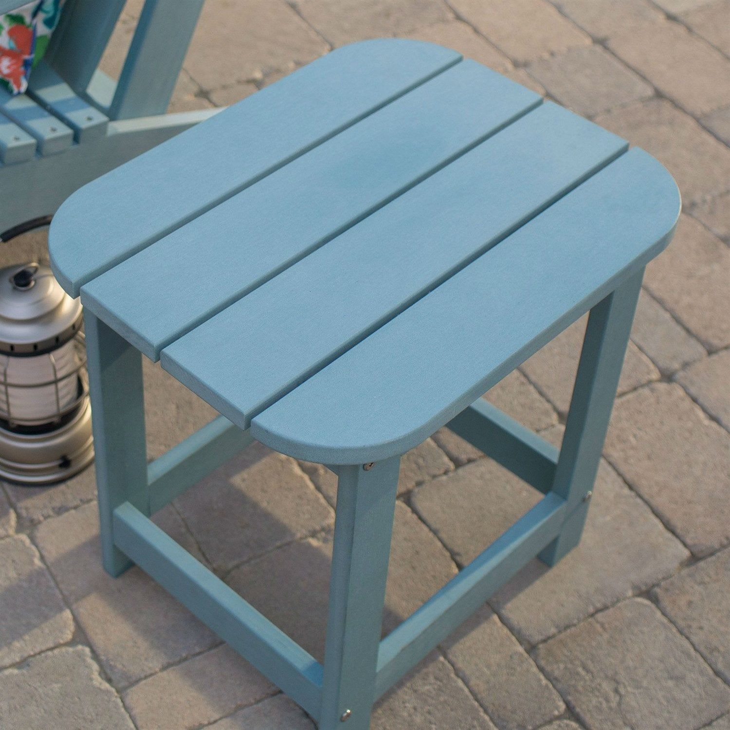 Picture of: Outdoor Deck Patio Side Table In Blue Green Resin Wood Look Finish Shabbyliving