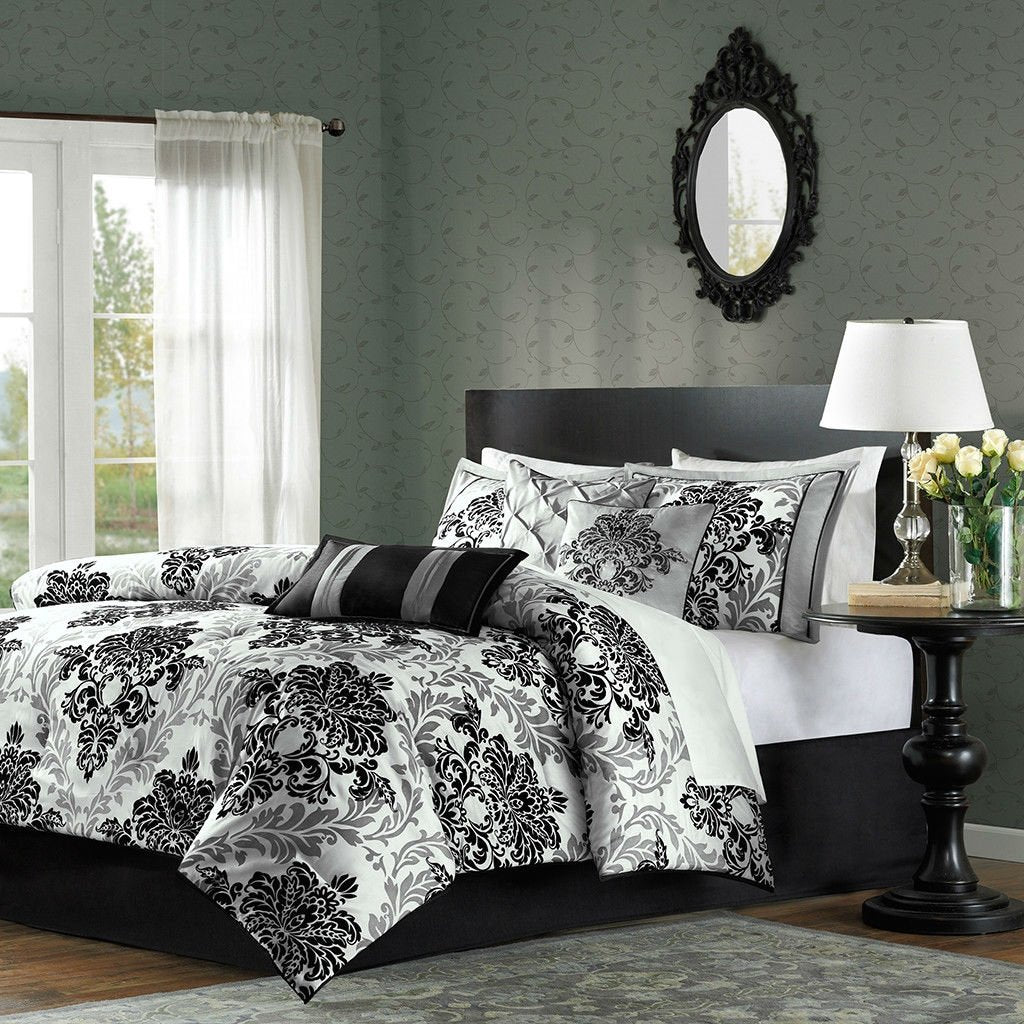 King size 7-Piece Comforter Set with Black Grey Damask Pattern