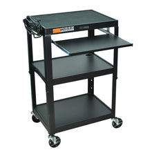 Load image into Gallery viewer, Mobile Stand Up Computer Desk Workstation Cart in Black Steel