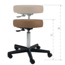 Load image into Gallery viewer, Adjustable Height Pneumatic Rolling Stool with Latte Brown Padded Seat by Earthlite Massage