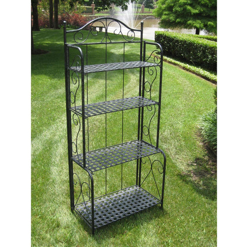 Indoor / Outdoor Folding Metal Bakers Rack with 4-Tier Lattice Shelves in Black Iron