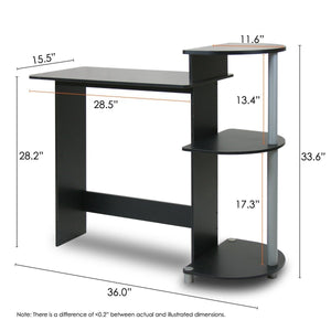 Contemporary Computer Desk in Black and Grey Finish