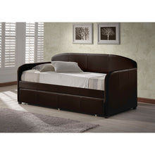 Load image into Gallery viewer, Twin size Brown Faux Leather Daybed with Roll-out Trundle