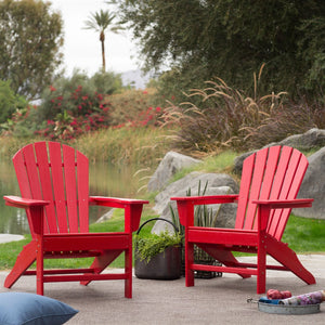 Outdoor Patio Seating Garden Adirondack Chair in Red Heavy Duty Resin