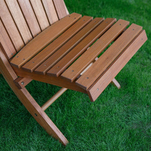 Outdoor Patio Armless Hardwood Adirondack Chair with Brown Wood Stain