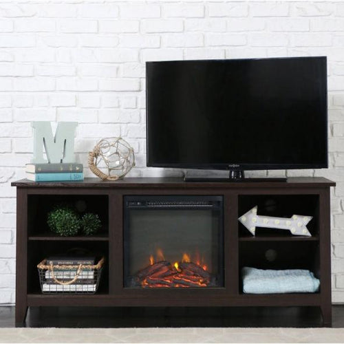 Espresso 2-in-1 Electric Fireplace TV Stand Heater