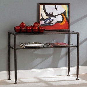 Black Metal Frame Sofa Table with Clear Tempered-Glass Top Shelves