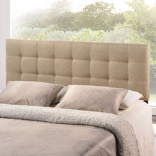 Load image into Gallery viewer, King size Beige Fabric Upholstered Headboard with Modern Tufting