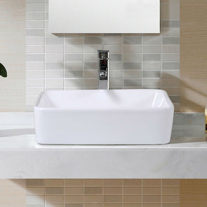 Modern 19-inch Rectangular Ceramic Vessel Basin Bathroom Sink