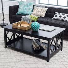 Load image into Gallery viewer, Black Quatrefoil Coffee Table with Solid Birch Wood Frame