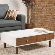 Load image into Gallery viewer, Modern Mid-Century Style White Wood Coffee Table with 2 Drawers