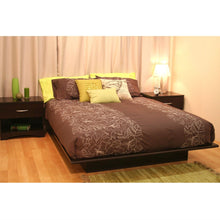 Load image into Gallery viewer, Queen size Platform Bed Frame in Dark Brown Chocolate Wood Finish