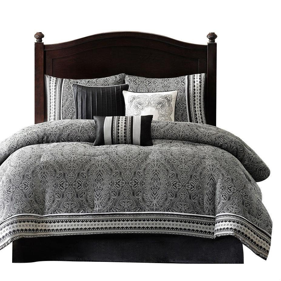 Queen size 7-Piece Comforter Set in Black White Grey Damask Pattern