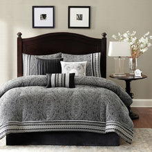 Load image into Gallery viewer, Queen size 7-Piece Comforter Set in Black White Grey Damask Pattern