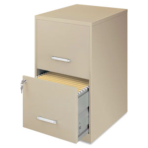 Metal Two Drawer Locking Vertical File Cabinet in Putty Color