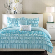 Load image into Gallery viewer, Light Blue Full/Queen 5-Piece Comforter Set w/ 2 Shams & 2 Pillows