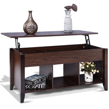 Load image into Gallery viewer, Brown Wood Lift-Top Coffee Table with Bottom Storage Shelves