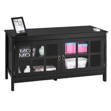 Load image into Gallery viewer, Black Wood TV Stand with Glass Panel Doors for up to 50-inch TV