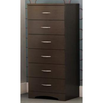 Contemporary Bedroom 6 Drawer Lingerie Chest in Chocolate