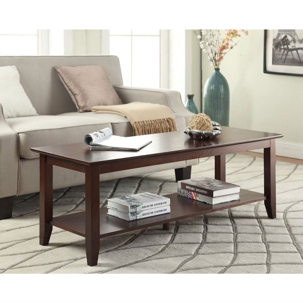 Espresso Wood Grain Coffee Table with Bottom Shelf