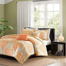 Load image into Gallery viewer, California King size 5-Piece Comforter Set in Orange Damask Print