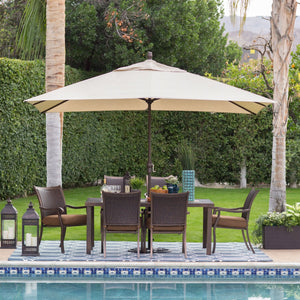 Rectangle 8-Ft x 11-Ft Patio Umbrella with Bronze Finish Pole and Beige Shade