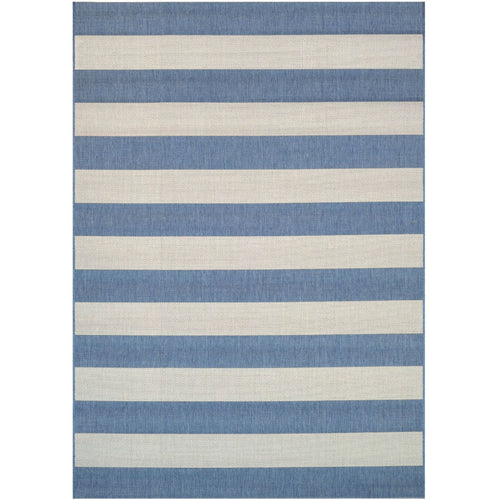 2' x 3'7 Ivory Blue Stripe Outdoor Indoor Rug