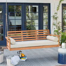 Load image into Gallery viewer, Deep Seat Wood Porch Swing Outdoor Bed with Cushion and 2 Bolster Pillows