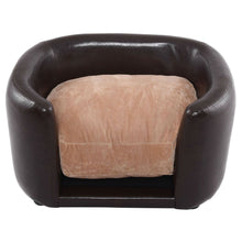 Load image into Gallery viewer, Soft Espresso Mini Couch Bed with Beige Cushion Small Dog or Cat