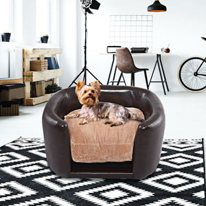 Soft Espresso Mini Couch Bed with Beige Cushion Small Dog or Cat