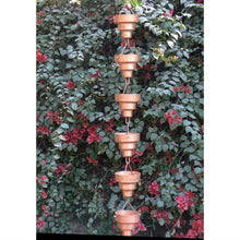 Load image into Gallery viewer, Pure Copper 8.5-Ft Long Rain Chain with Wide Mouth Funnel Cups