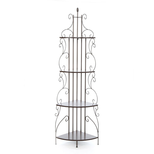 Ornate 4-Tier Metal Corner Bakers Rack Kitchen Dining Shelf